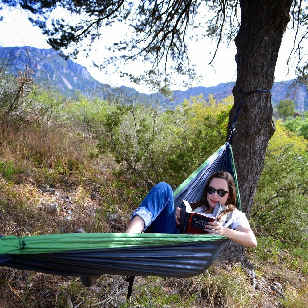 Relaxing in an ENO Hammock in the Chisos Mountains