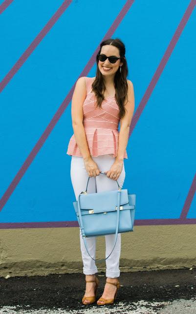 henri bendel uptown satchel, anthropologie cabana peplum top, the lone star looking glass, houston fashion blogger