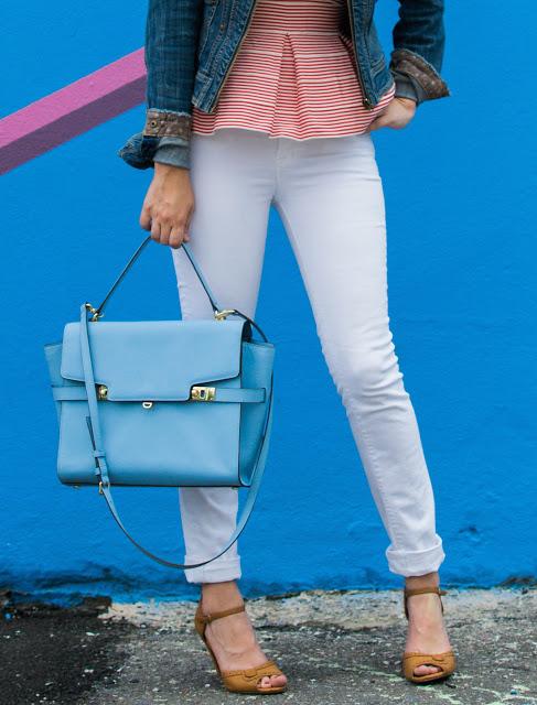 henri bendel uptown satchel, henri bendel, henri bendel satchel, henri bendel blue purse, henri bendel blue satchel, white j brand jeans,