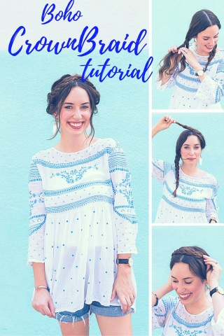 """How to style easy boho """"messy"""" crown braids."""