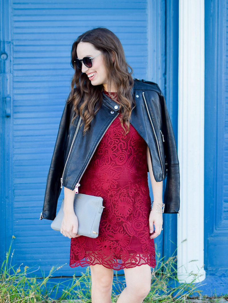Tips on how to dress down a red lace party dress for fall.