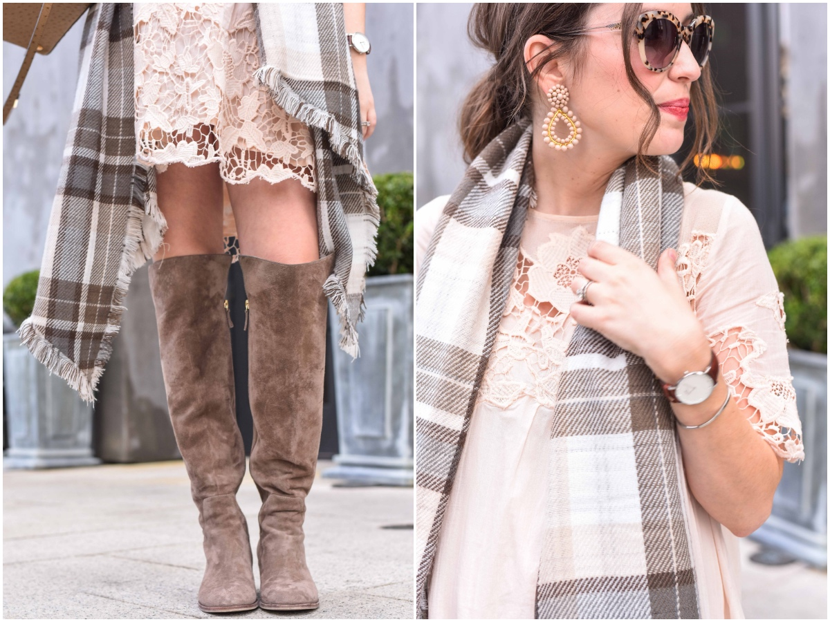 Houston Blogger styles Anthropologie's Magnolia Lace Dress in peach with taupe Elaine Turner boots and a plaid blanket scarf.