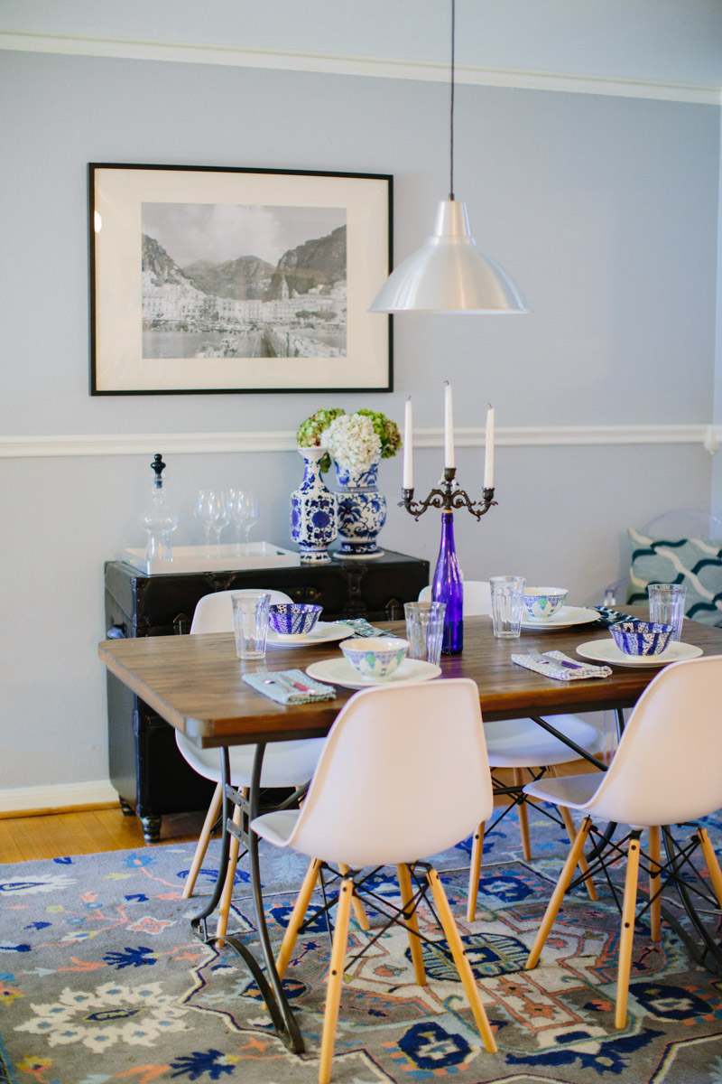 A Mid Century Blue And White Dining Room Remodel.
