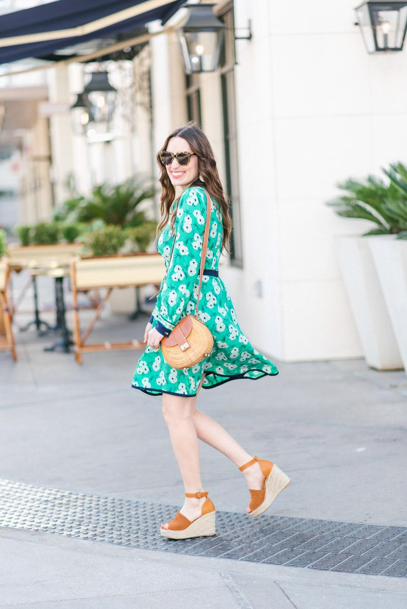Houston blogger styles Draper James Hilltop Garden Shirt Dress in a green floral print.