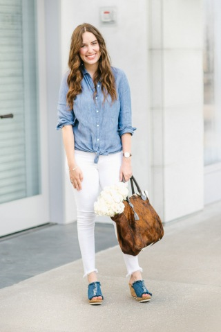 How to wear the double denim trend with a denim on denim look with white jeans, a chambray top and denim Minnetonka wedges.