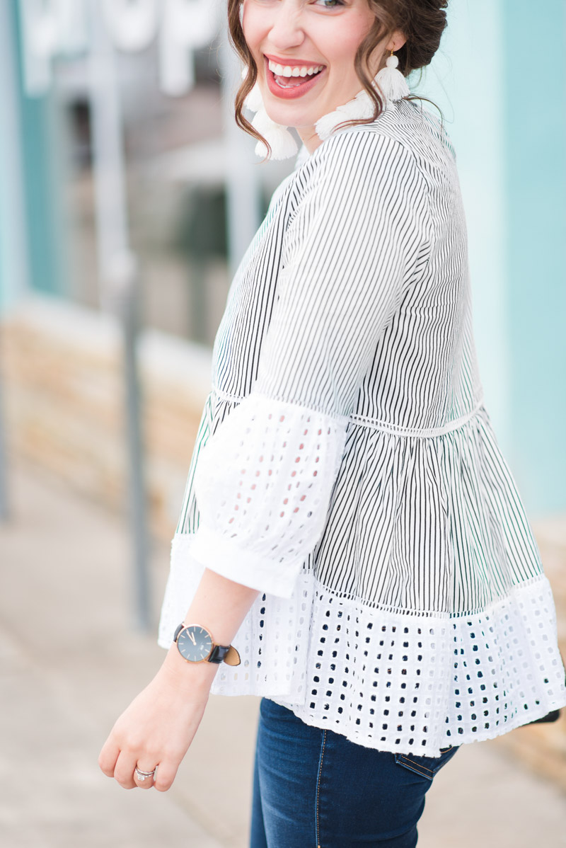 Chicwish Striped and Eyelet Top