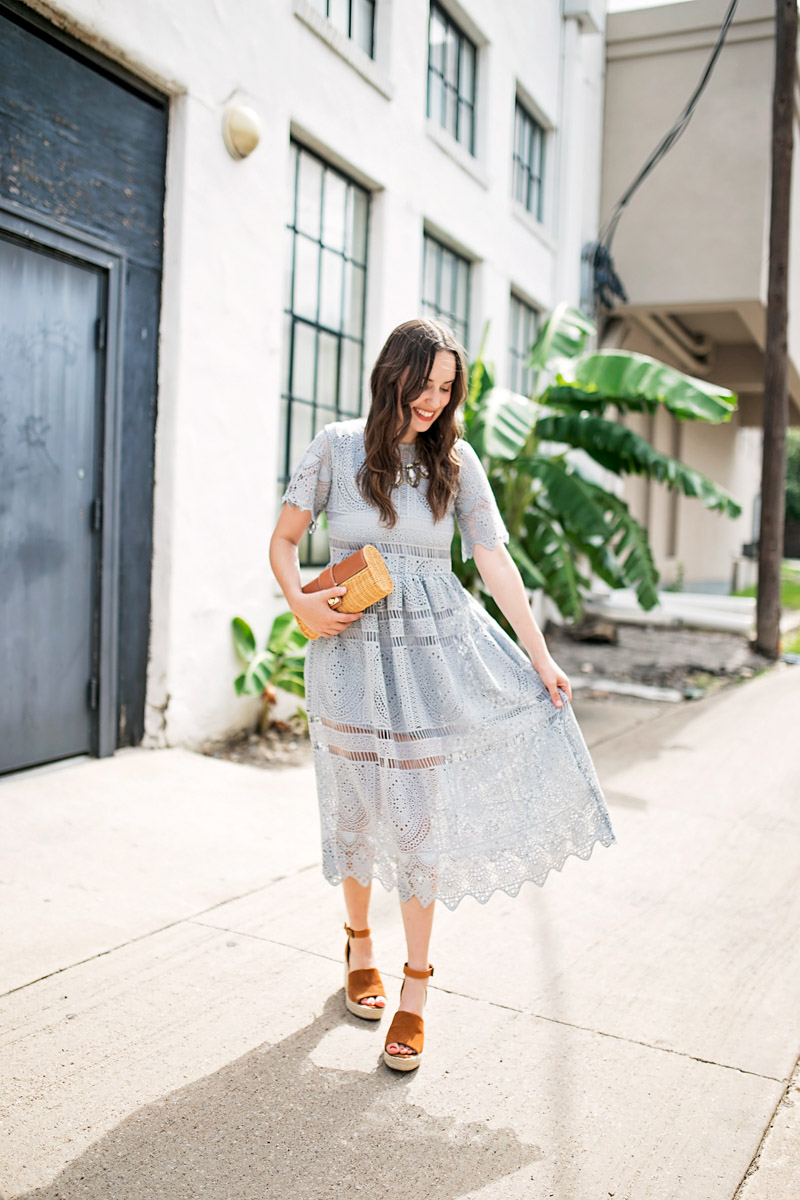 Houston blogger styles a blue lace midi dress from Chicwish.
