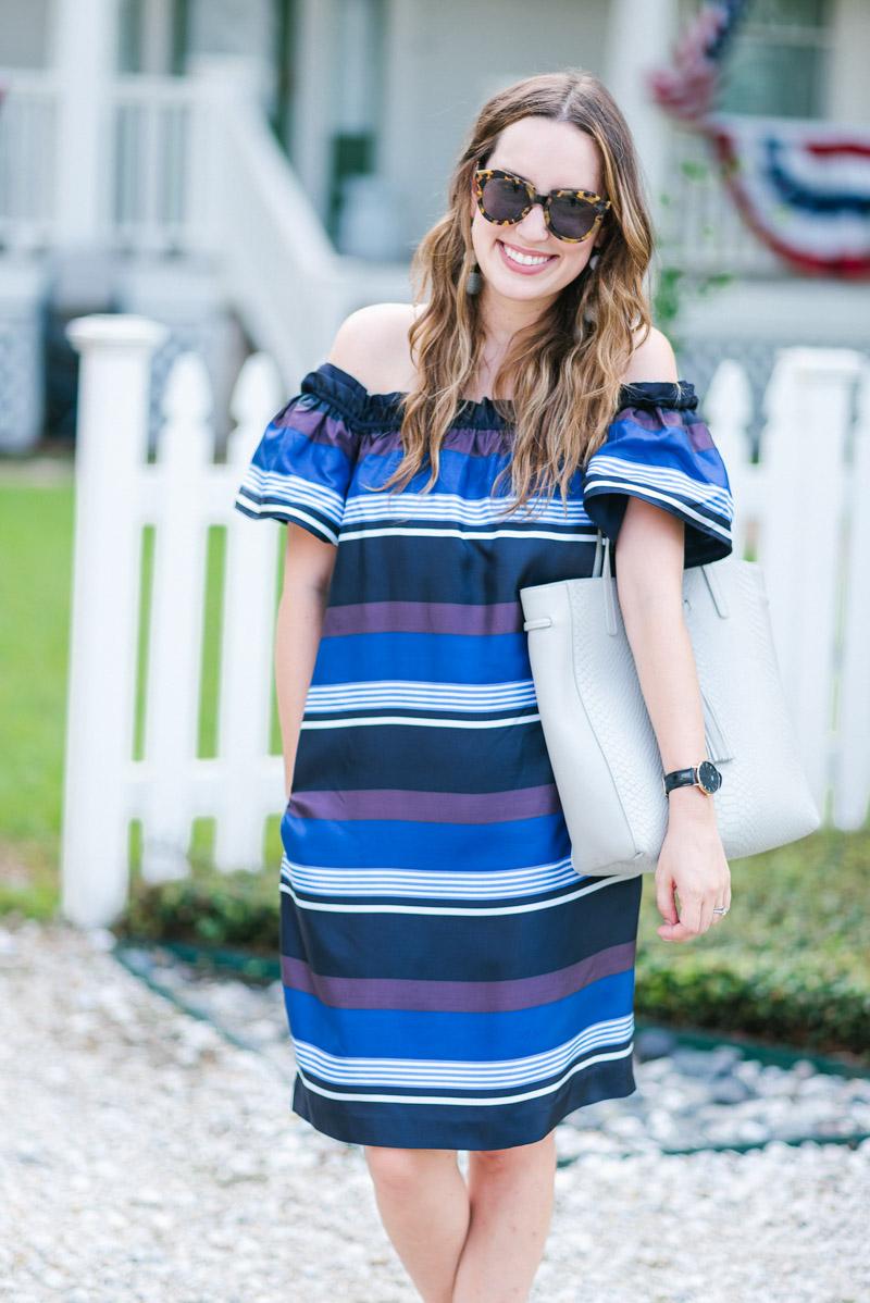 Banana Republic blue striped off the shoulder dress