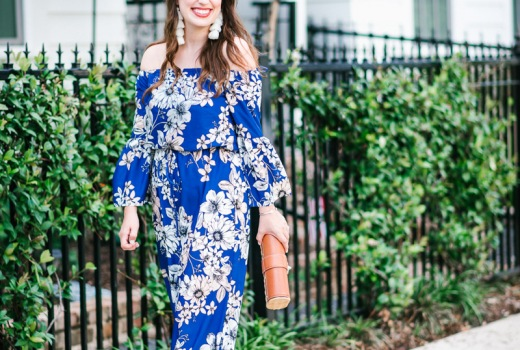 Blue floral eliza j maxi dress