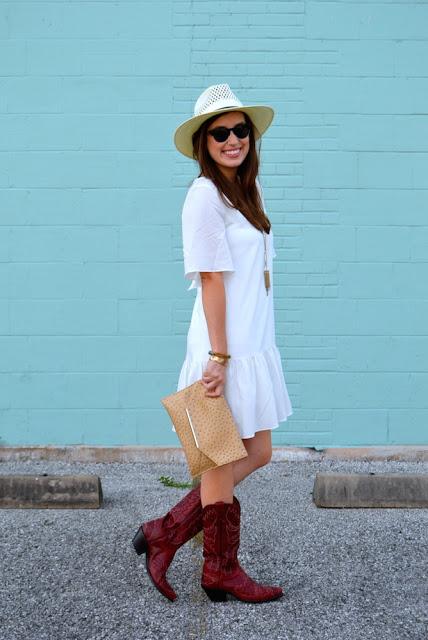 b1dfeb12121d41 flora mia white dress, stetson digger hat, cavenders red cowboy boots, red  cowboy