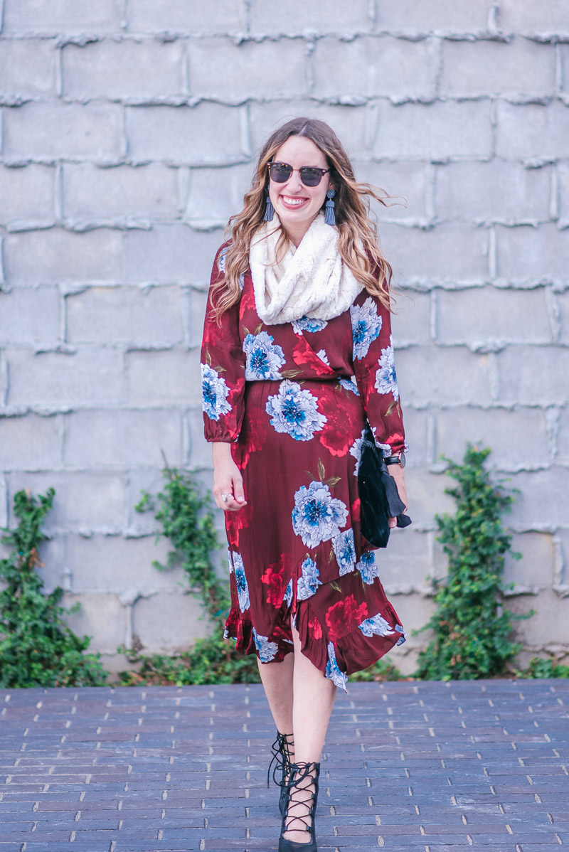 318bc299b944 Tracy Reese Aleah Dress in Maroon Floral with Seychelles Lace Up Heels