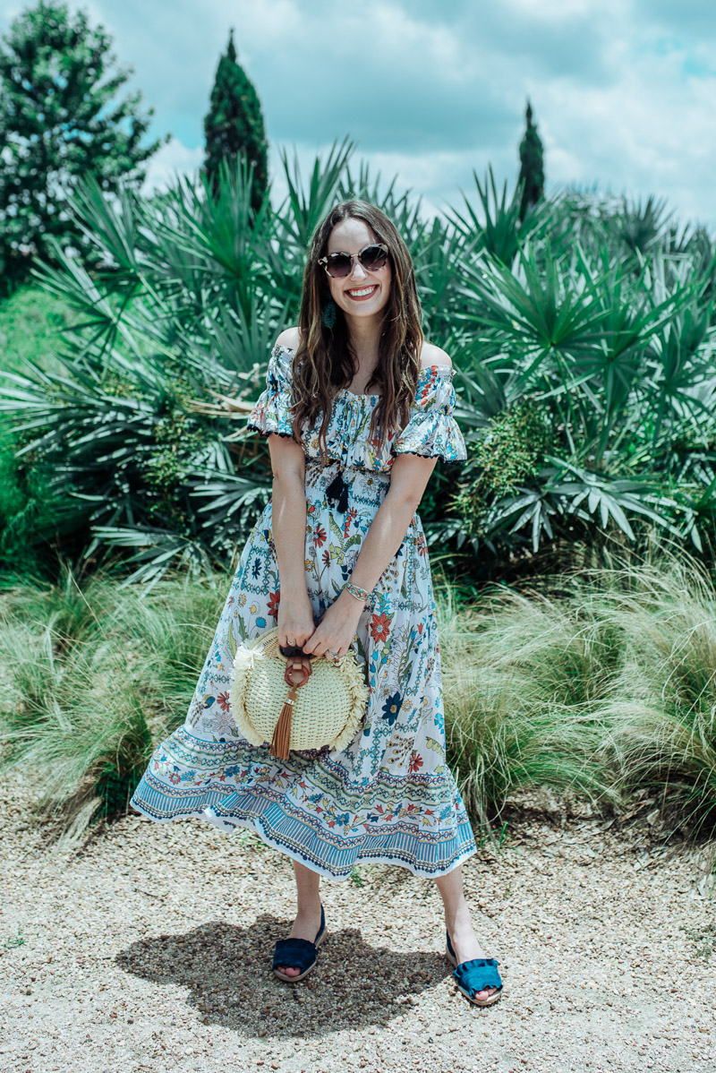 060d078136 Texas fashion blogger styles the Tory Burch Meadow Folly Off the Shoulder  dress for summer.