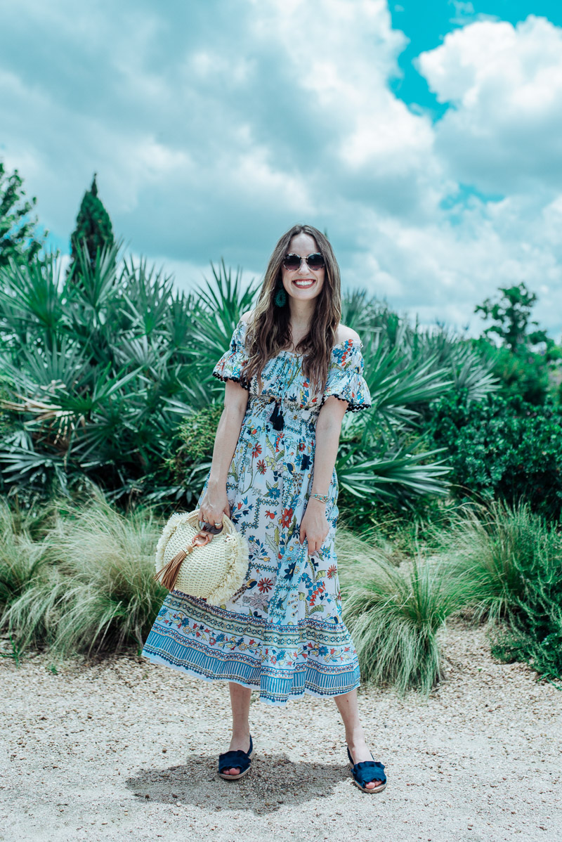 5f1b14a15e832 Texas fashion blogger styles the Tory Burch Meadow Folly Off the Shoulder  dress for summer.